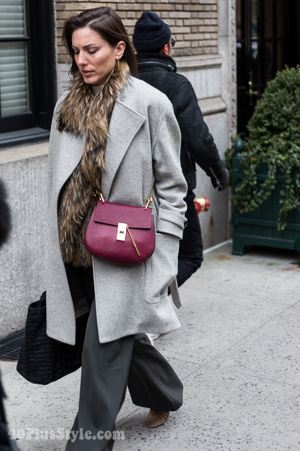 Winter outfits: grey wrap coat | 40plusstyle.com