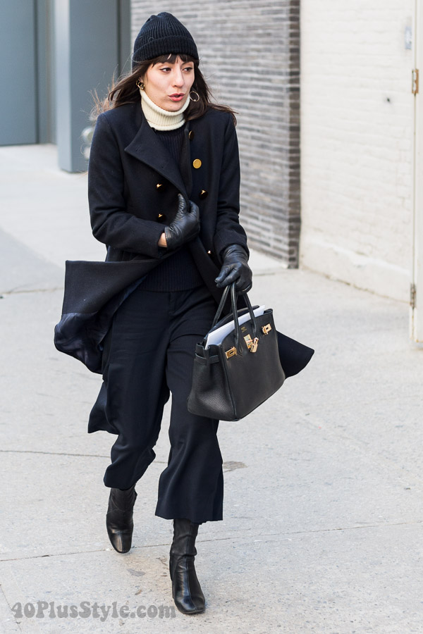 marvellous outfit black coat shoes