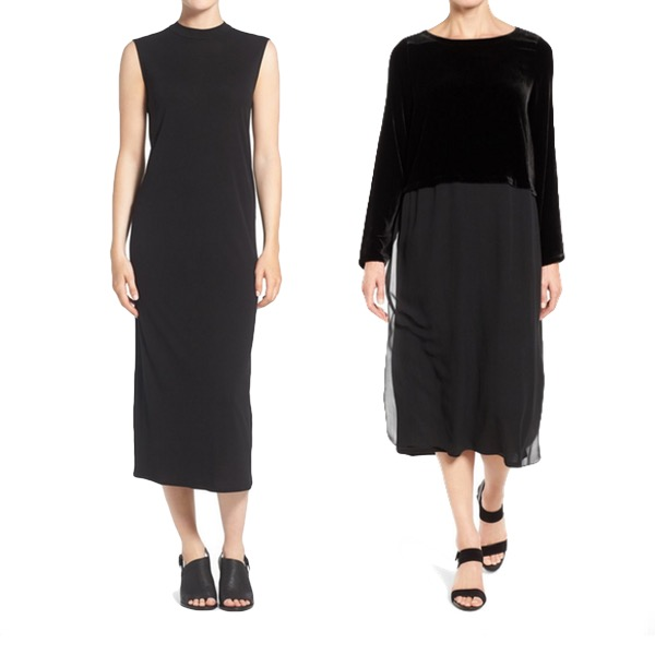 Eileen Fisher dresses, essentials in a capsule ready wardrobe. 40plusstyle.com