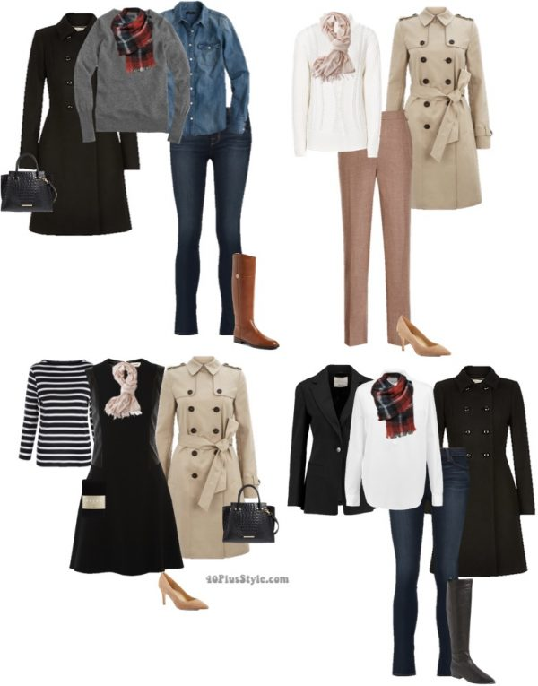 classic winter looks: striped top and beige coat | 40plusstyle.com