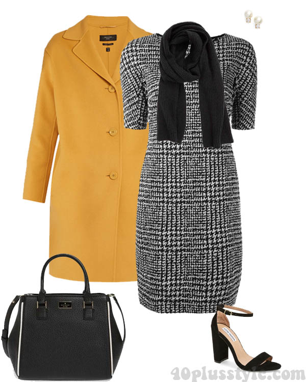 How to wear yellow: a chic yellow coat with a dress | 40plusstyle.com