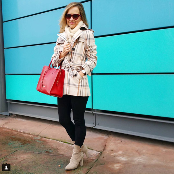 Plaid coat with boots outfit | 40plusstyle.com
