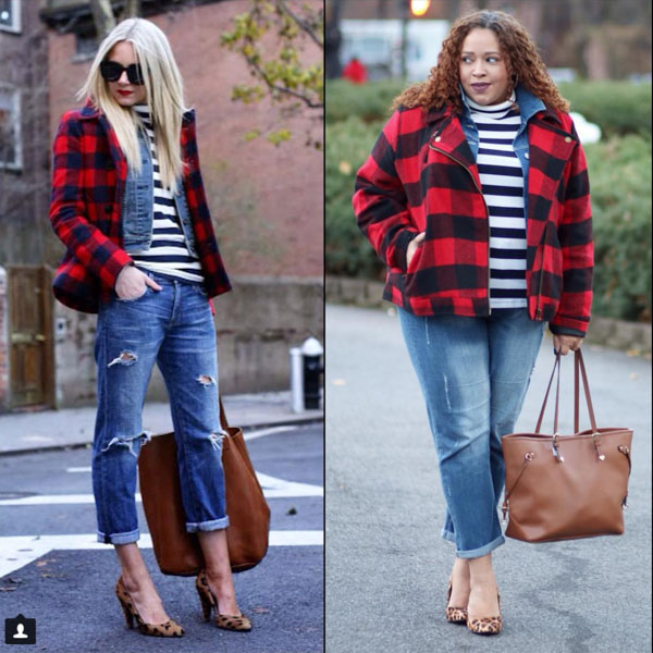 Red plaid coat with jean outfit | 40plusstyle.com