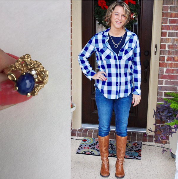 plaid top with boots | 40plusstyle.com