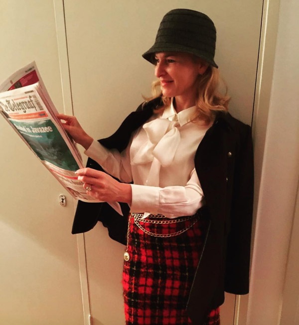 plaid skirt outfit idea | 40plusstyle.com