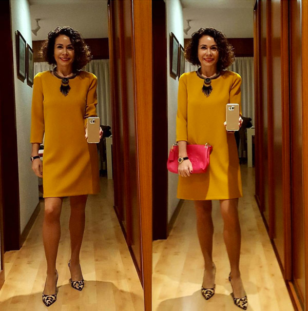 Christmas party outfit: yellow dress | 40plusstyle.com