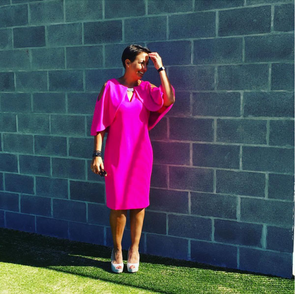 Hot pink capelet dress | 40plusstyle.com