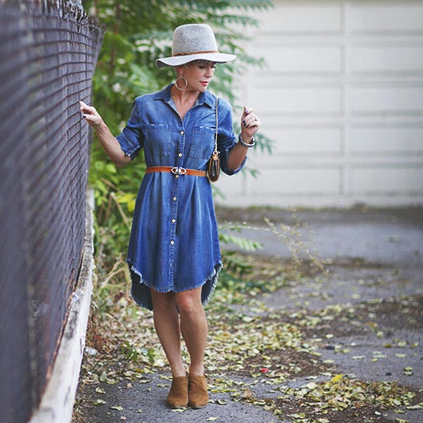 denim frayed dress | 40plusstyle.com