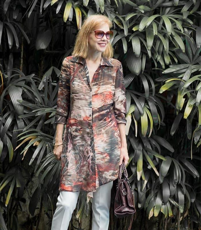 Printed sheer long sleeves | 40plusstyle.com