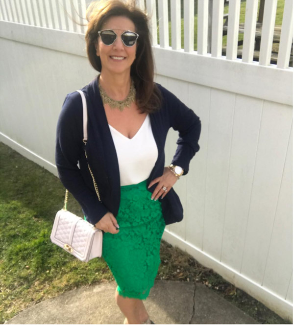 Lace green skirt | 40plusstyle.com