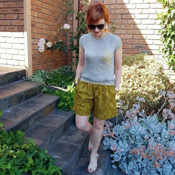 Green shorts with grey top | 40plusstyle.com