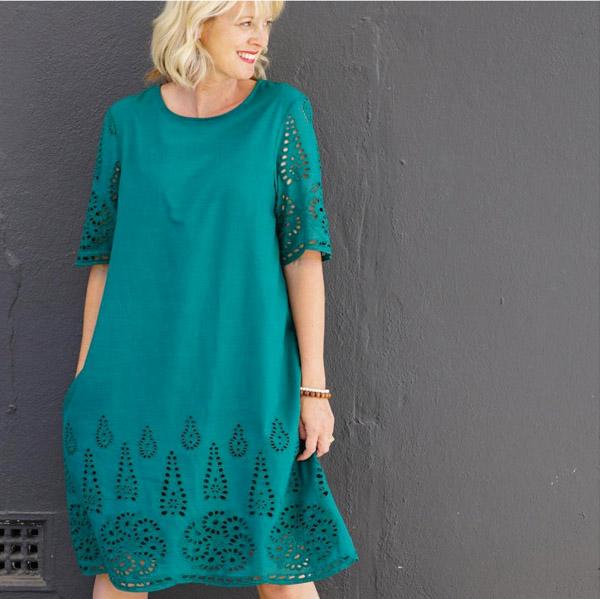Green sun dress   40plusstyle.com
