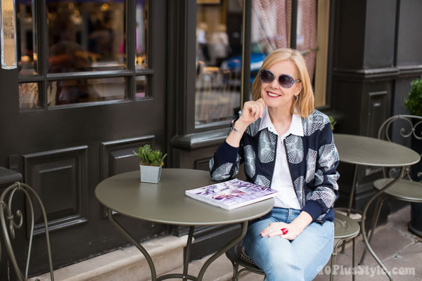Printed bomber jacket with jeans   40plusstyle.com