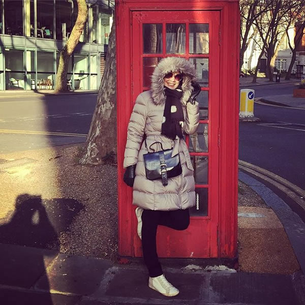 long down coat worn in London   40plusstyle.com