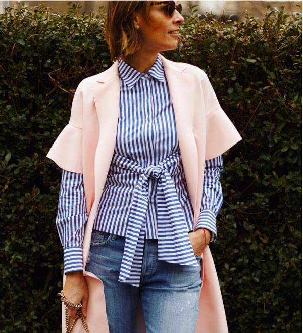 Pin striped belted top | 40plusstyle.com