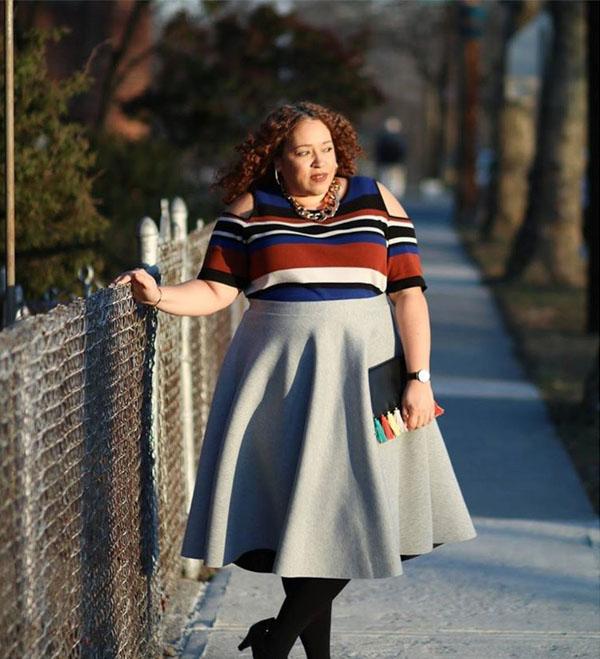 Cold shoulder striped top | 40plusstyle.com