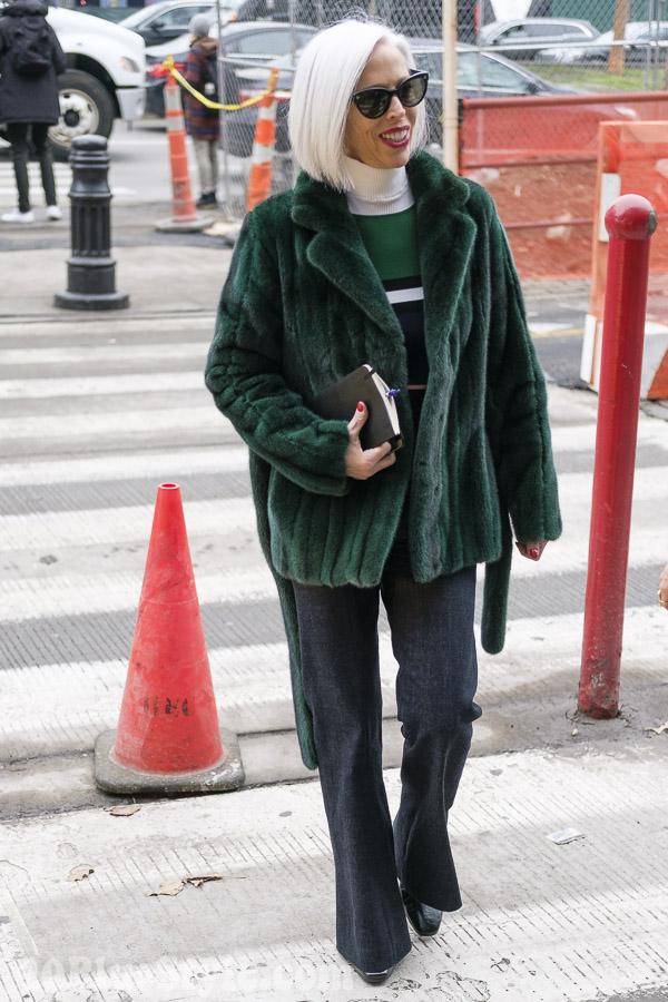 Linda Fargo wearing a green jacket | 40plusstyle.com