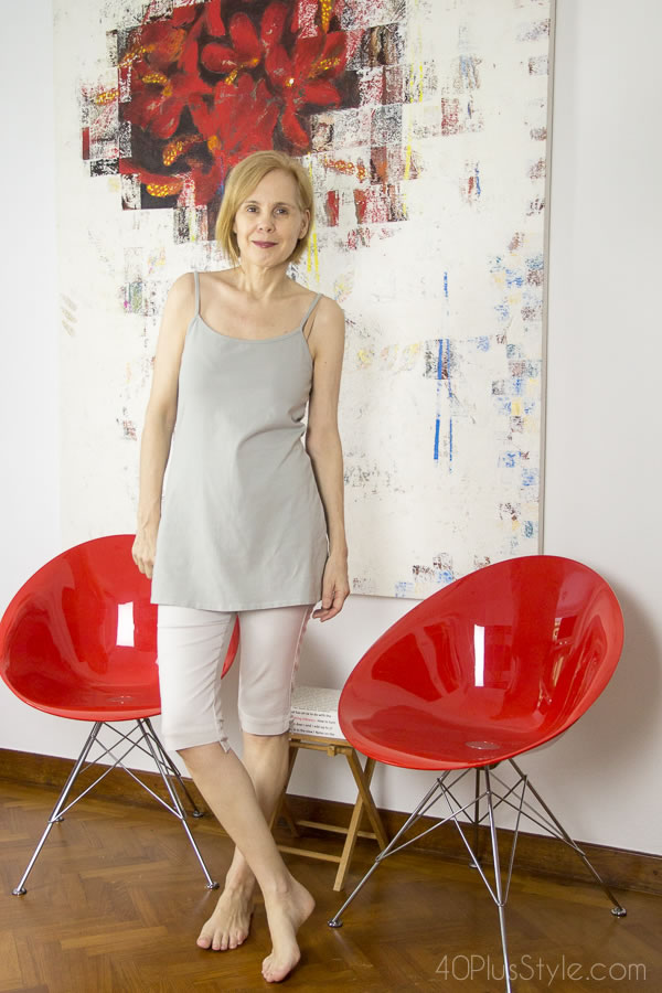 Loungewear: cropped stretchy pant with long camisole   40plusstyle.com