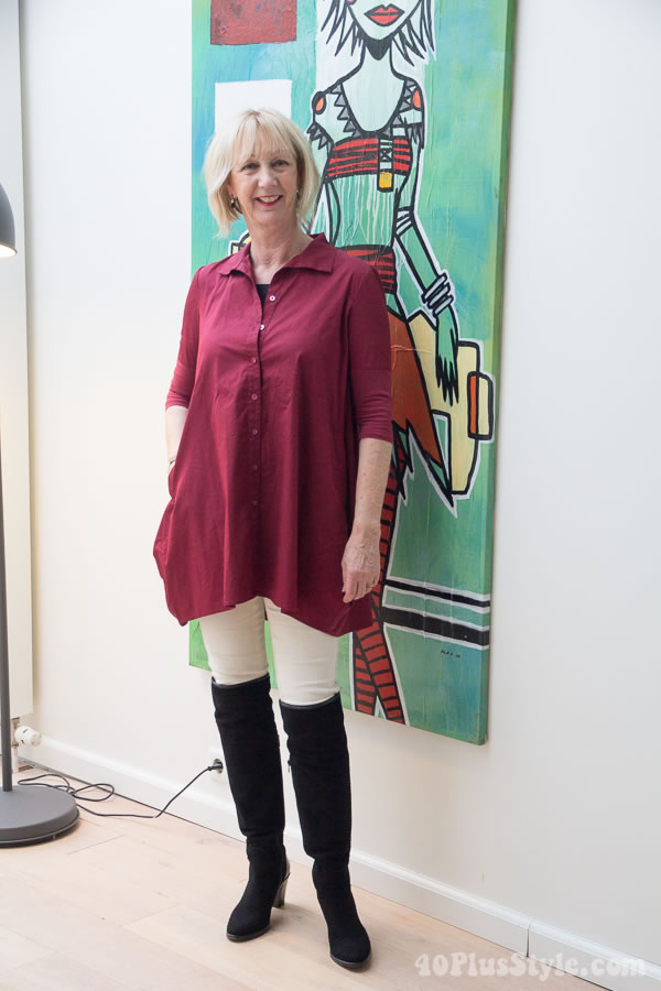 Asymmetrical tunic worn over skinnies and over the knee boots | 40plusstyle.com