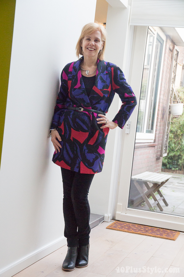 How to style a colorful and printed jacket   40plusstyle.com