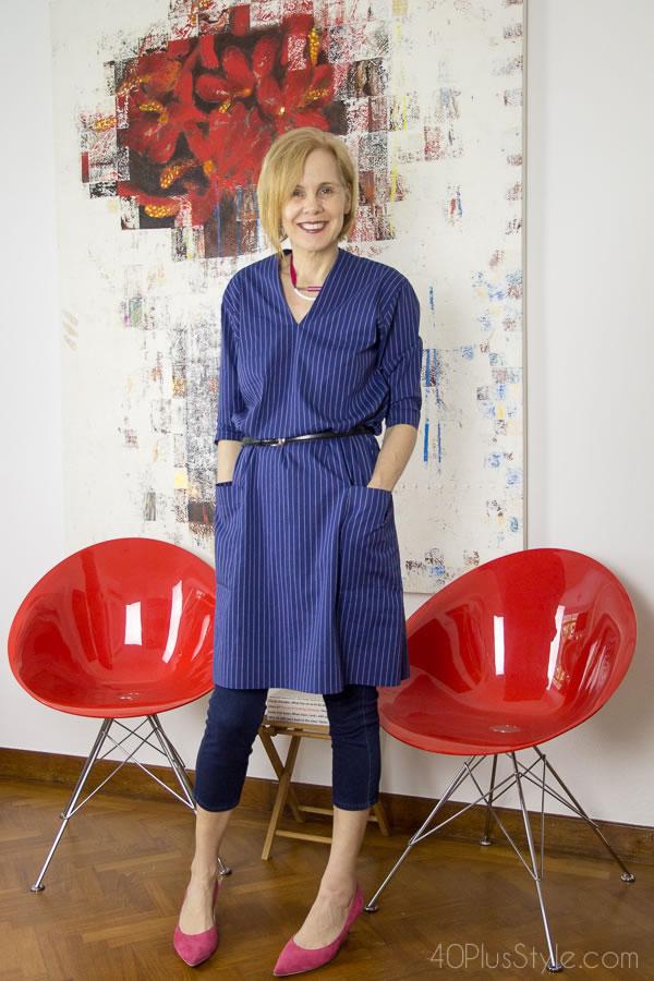 Blue dress worn over cropped denim skinnies   40plusstyle.com