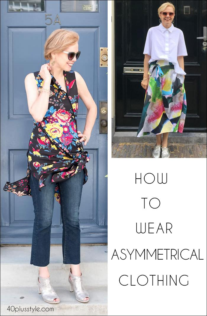 How to wear asymmetric clothing - lots of ideas and current items to buy right now! | 40plusstyle.com