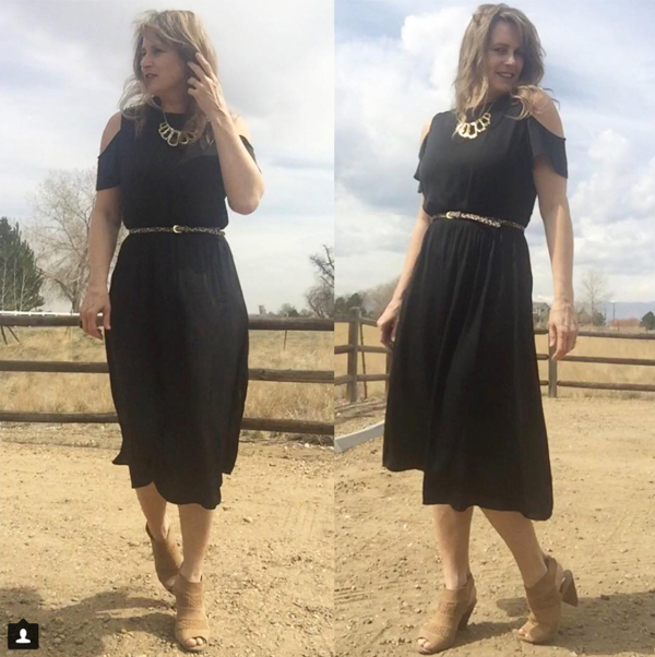 cold shoulder black dress and accessories | 40plusstyle.com