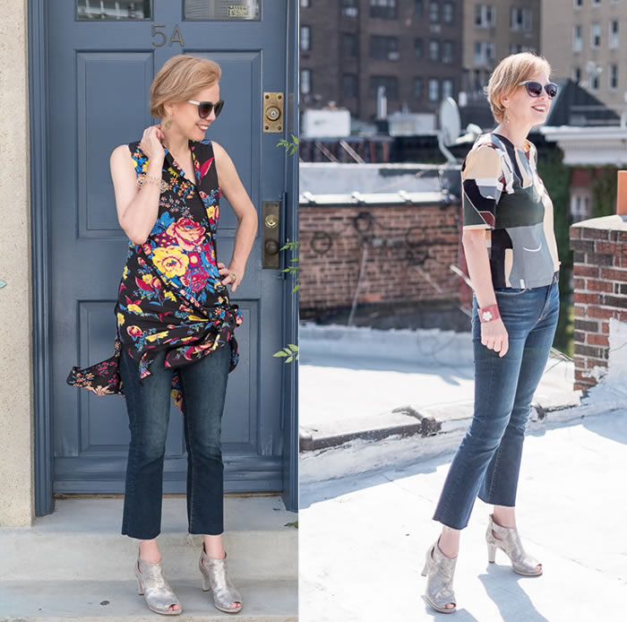 wearing cropped jeans with silver shoes | 40plusstyle.com