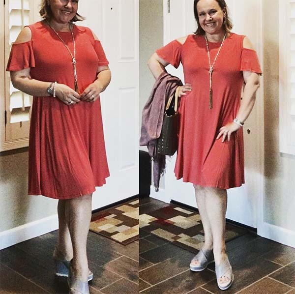 cold shoulder styled outfit   40plusstyle.com