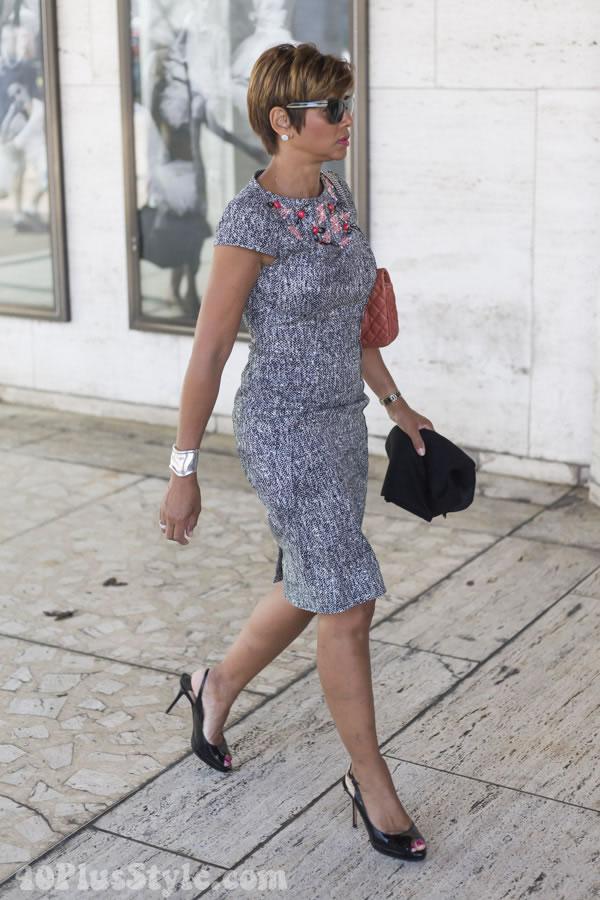 beaded body dress | 40plusstyle.com