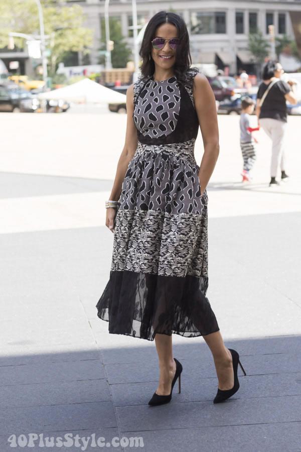 mixed print dress | 40plusstyle.com