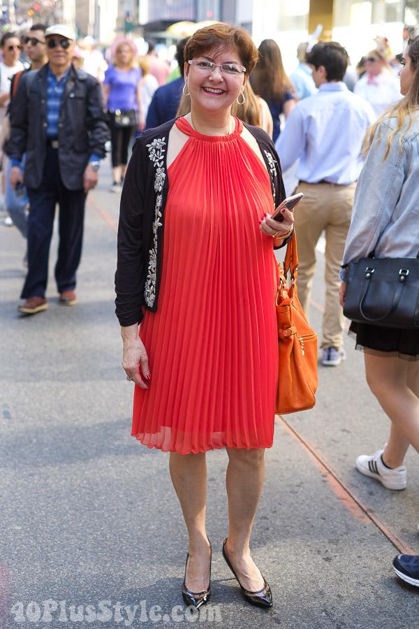 Pleated halter dress and kitten heels | 40plusstyle.com