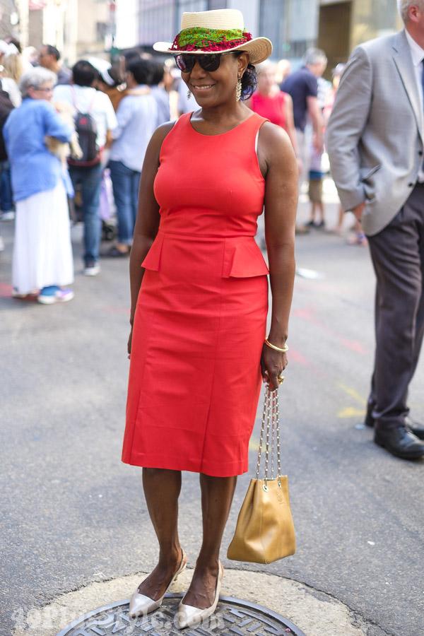 Red peplum dress | 40plusstyle.com