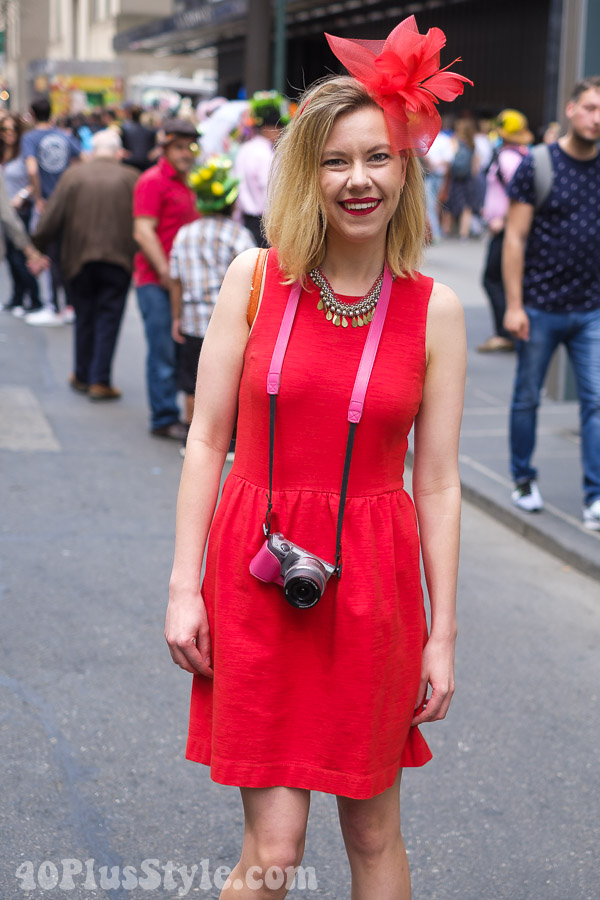 All red at the New York Easter Parade | 40plusstyle.com