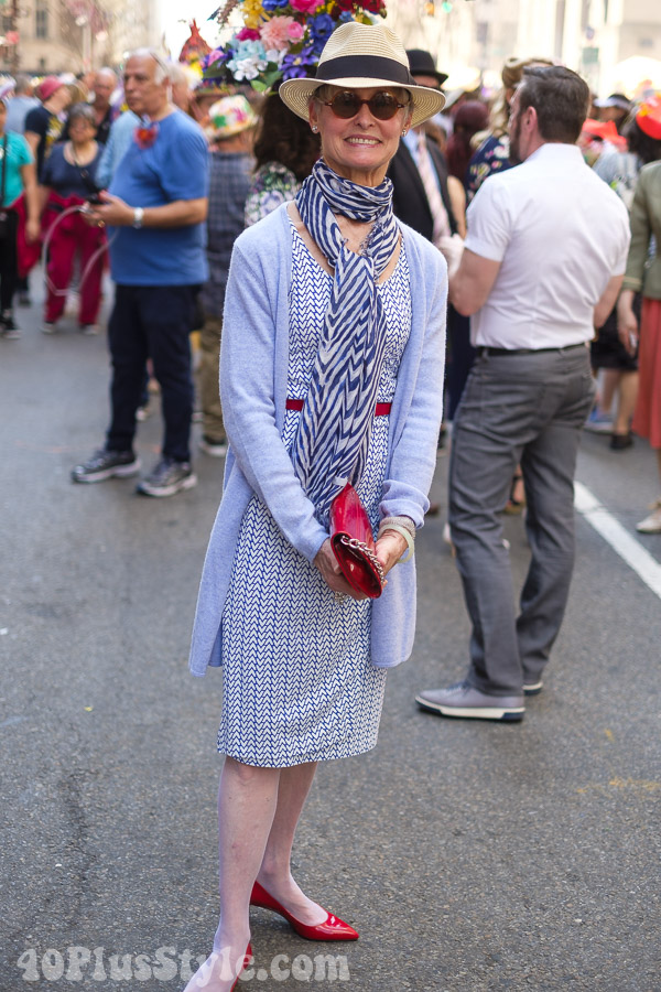 Elegant in chevron prints at the New York Easter Parade | 40plusstyle.com