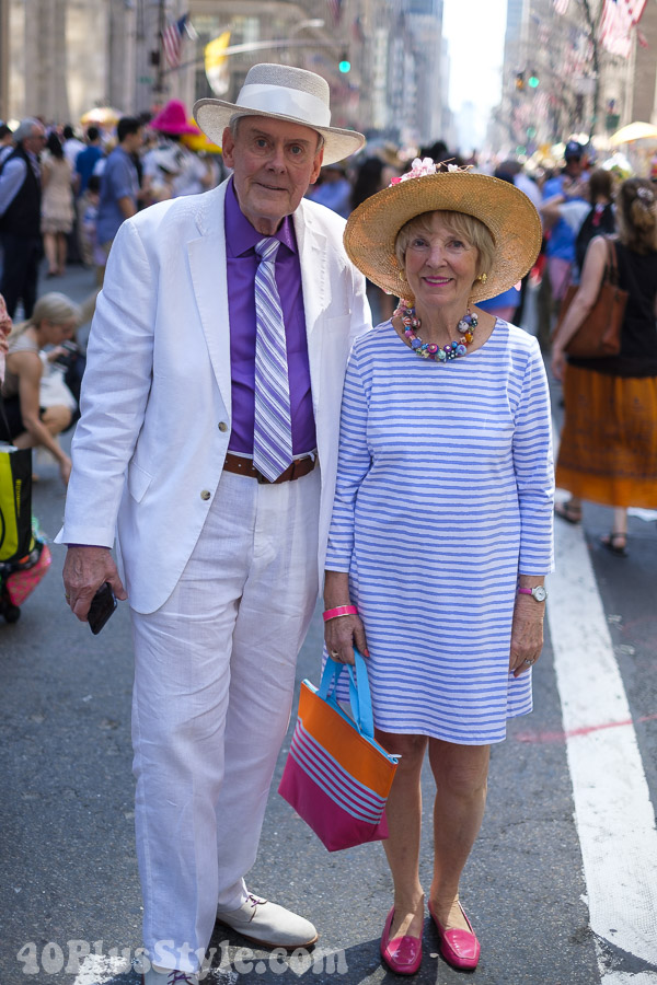 Matching stripes at the New York Easter Parade | 40plusstyle.com