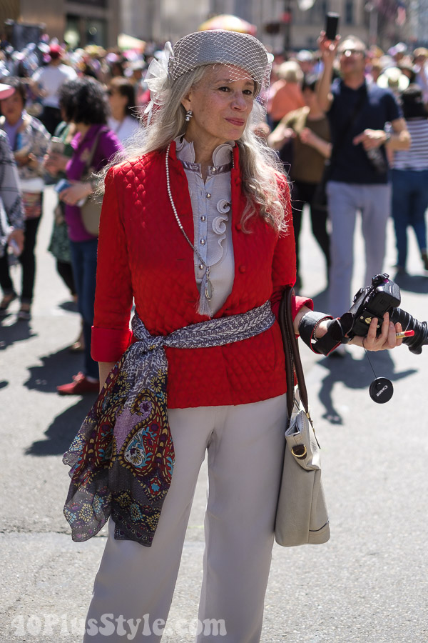 Chic red jacket at the New York Easter Parade | 40plusstyle.com