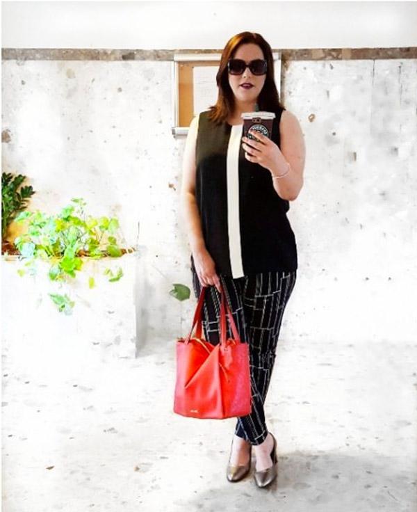 black graphic print pants and big sunglasses   40plusstyle.com