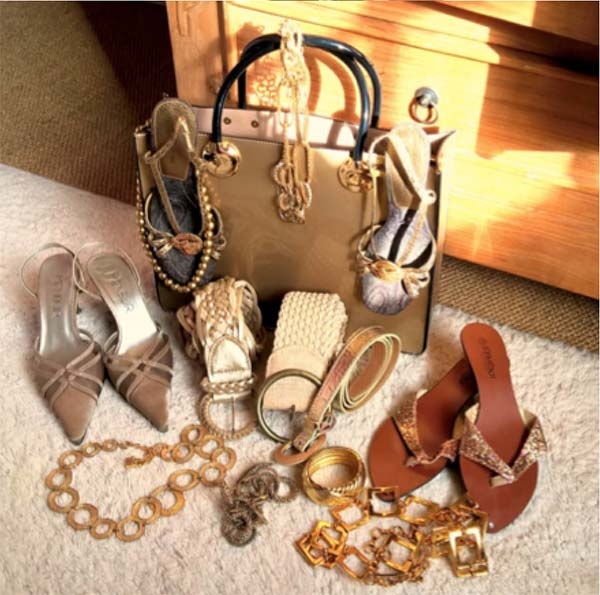 Gold and brown toned accessories are always elegant fashion pieces | 40plusstyle.com