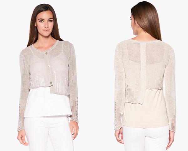 Asymmetrical short knitted cardigan | 40plusstyle.com