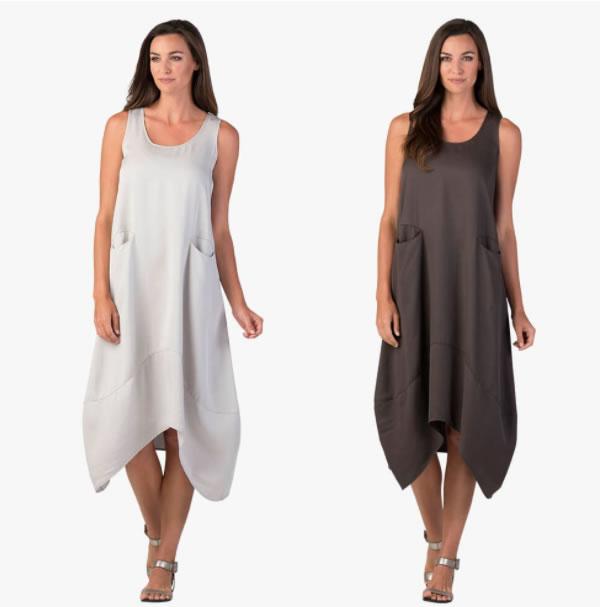 asymmetrical midi dress | 40plusstyle.com