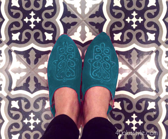 Moroccan mules worn with cropped pants | 40plusstyle.com