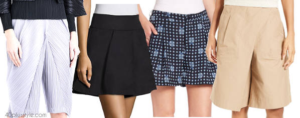 pleated shorts options | 40plusstyle.com