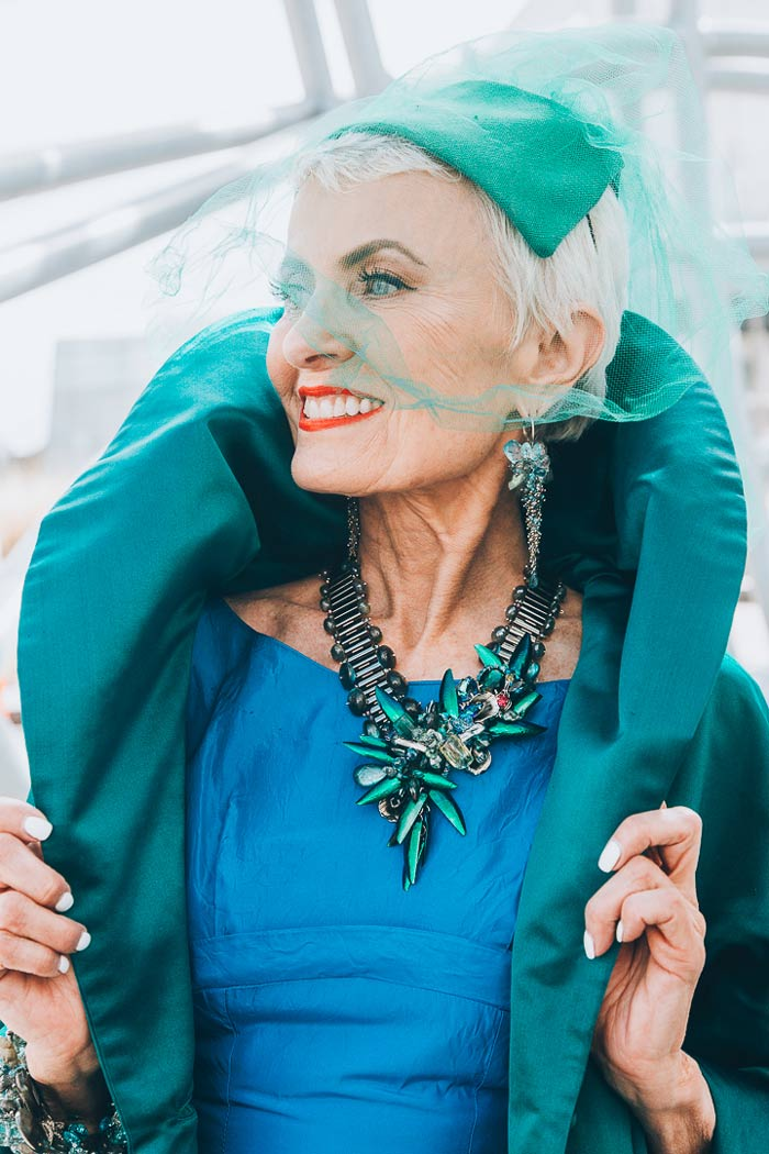 Judith wearing green blue outfit   40plusstyle.com