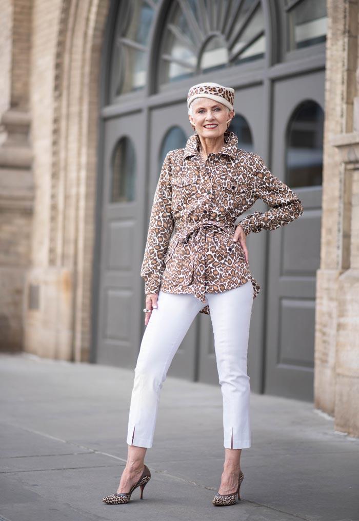 Judith wearing leopard prints | 40plusstyle.com