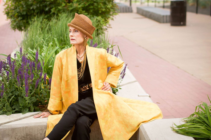 Judith wearing yellow coat   40plusstyle.com