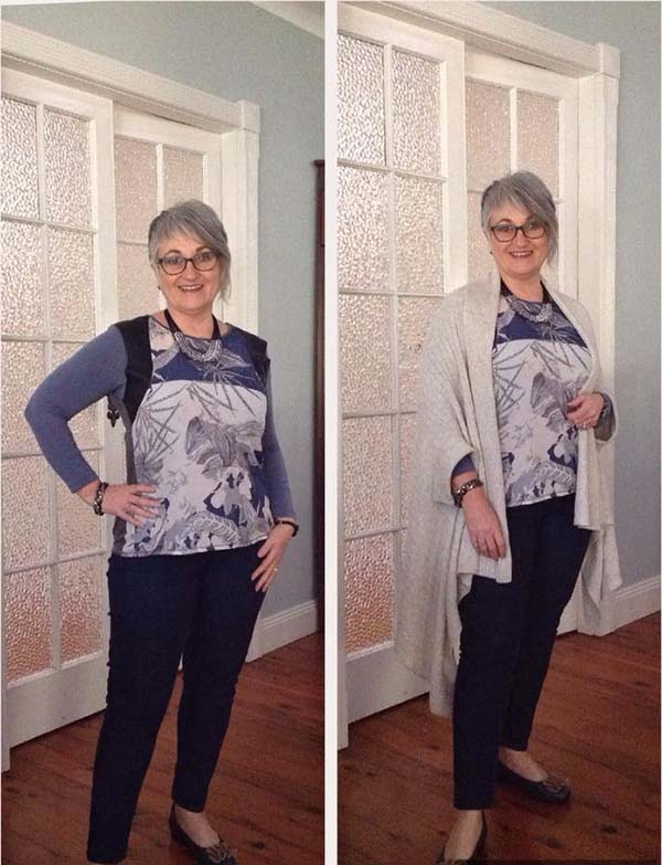 Chic outfit idea on how to use a simple cardigan as a light cover up | 40plusstyle.com