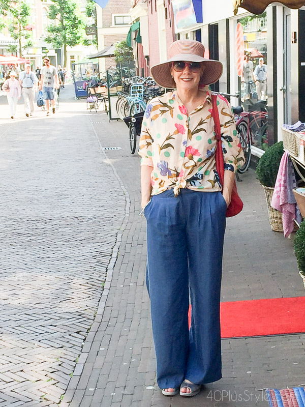 Chic outfit ideas on how to wear wide legged pants | 40plusstyle.com