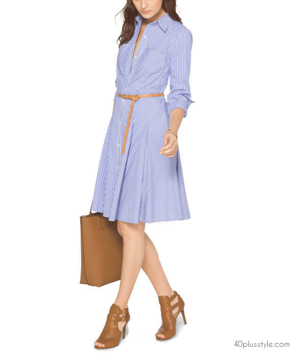Michael Kors fit and flare shirt dress for career women | 40plusstyle.com