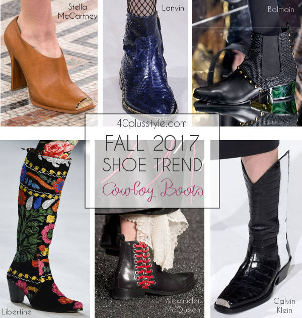 fall 2017 shoe trends featuring cowboy boots   40plusstyle.com